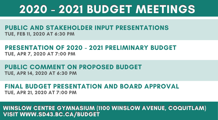 2020 - 2021 Budget Meetings will be happening soon!