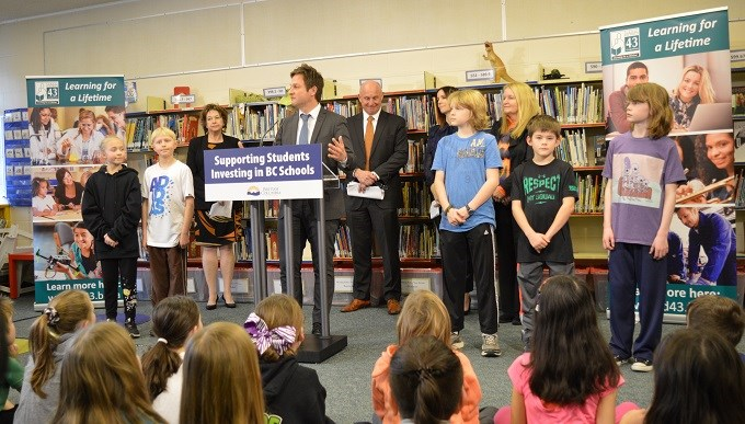SD43 receives $24.3 million for a new École Irvine Elementary School