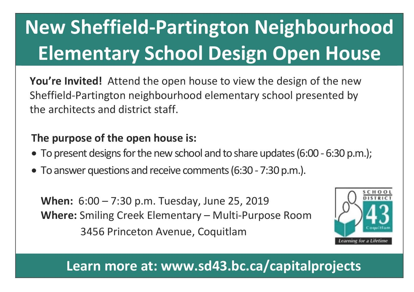 Attend the Open House to view the design of the new Sheffield-Partington Neighborhood Elementary School!