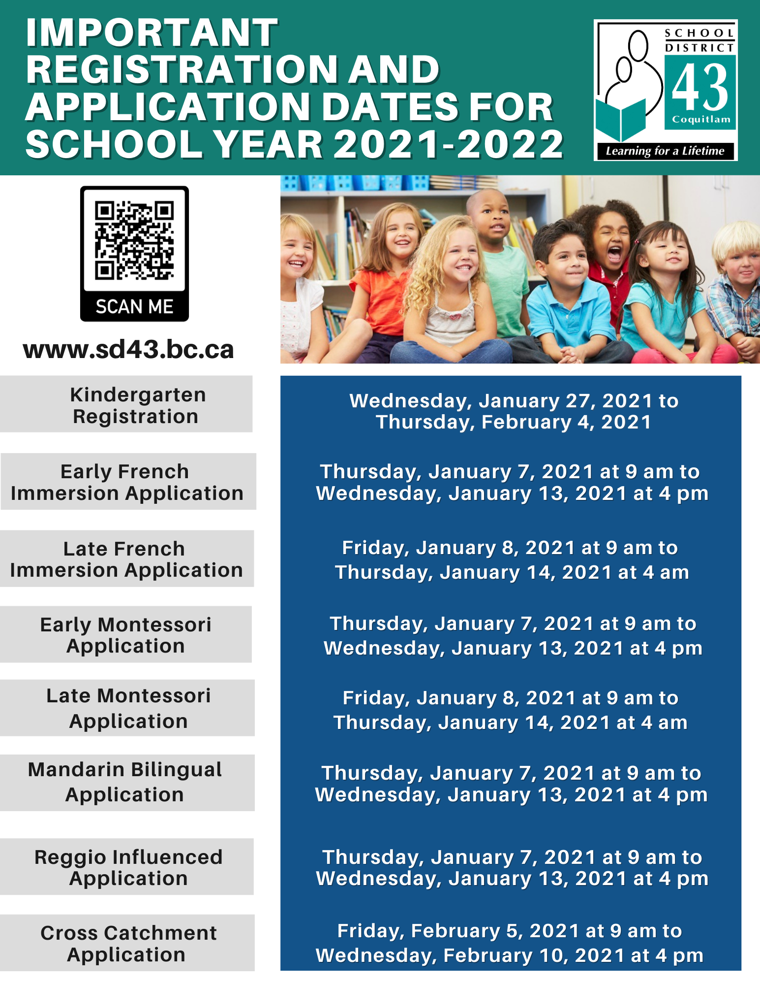 IMPORTANT REGISTRATION AND APPLICATION DATES FOR SCHOOL YEAR 2021-2022 FLYER