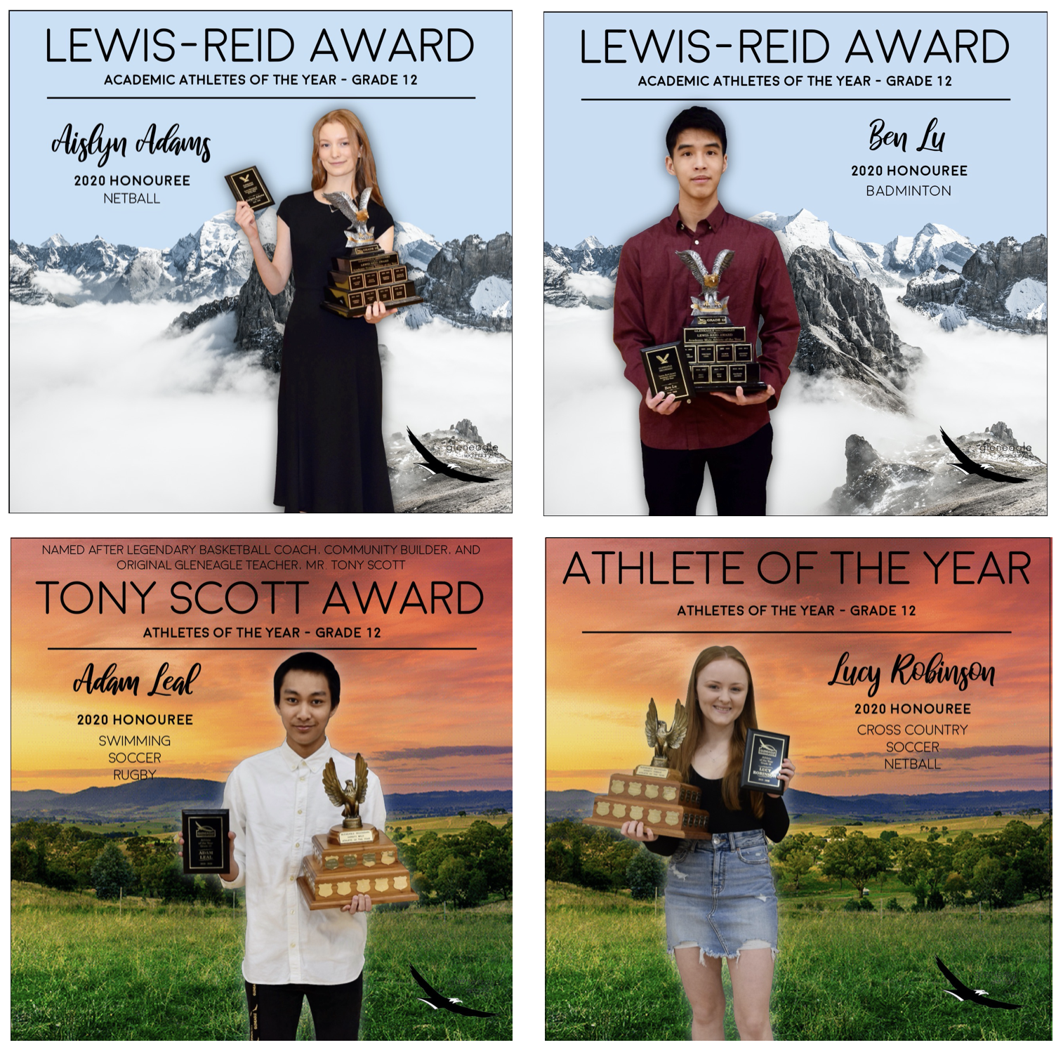 Grade 12 athletes of the year and Lewis-Reid award winners