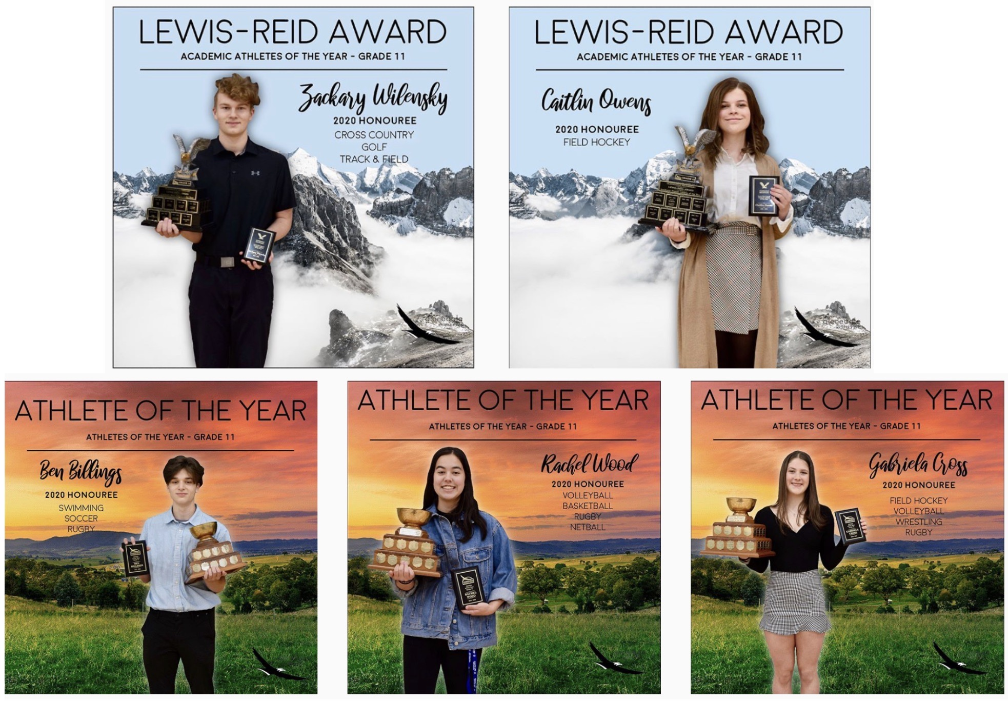 Grade 11 Athletes of the year and Lewis Reid award winners