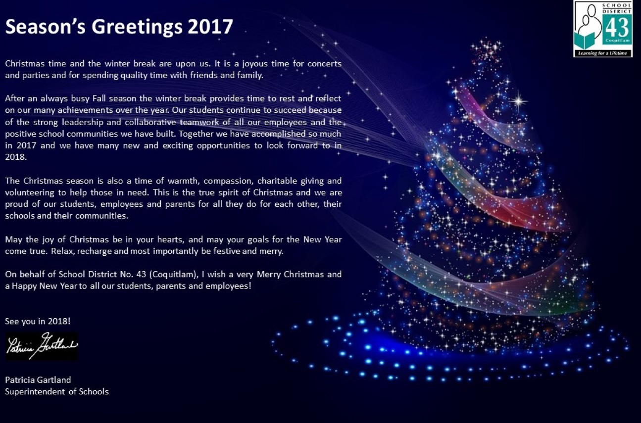 Superintendent of Schools Season's Greetings 2017