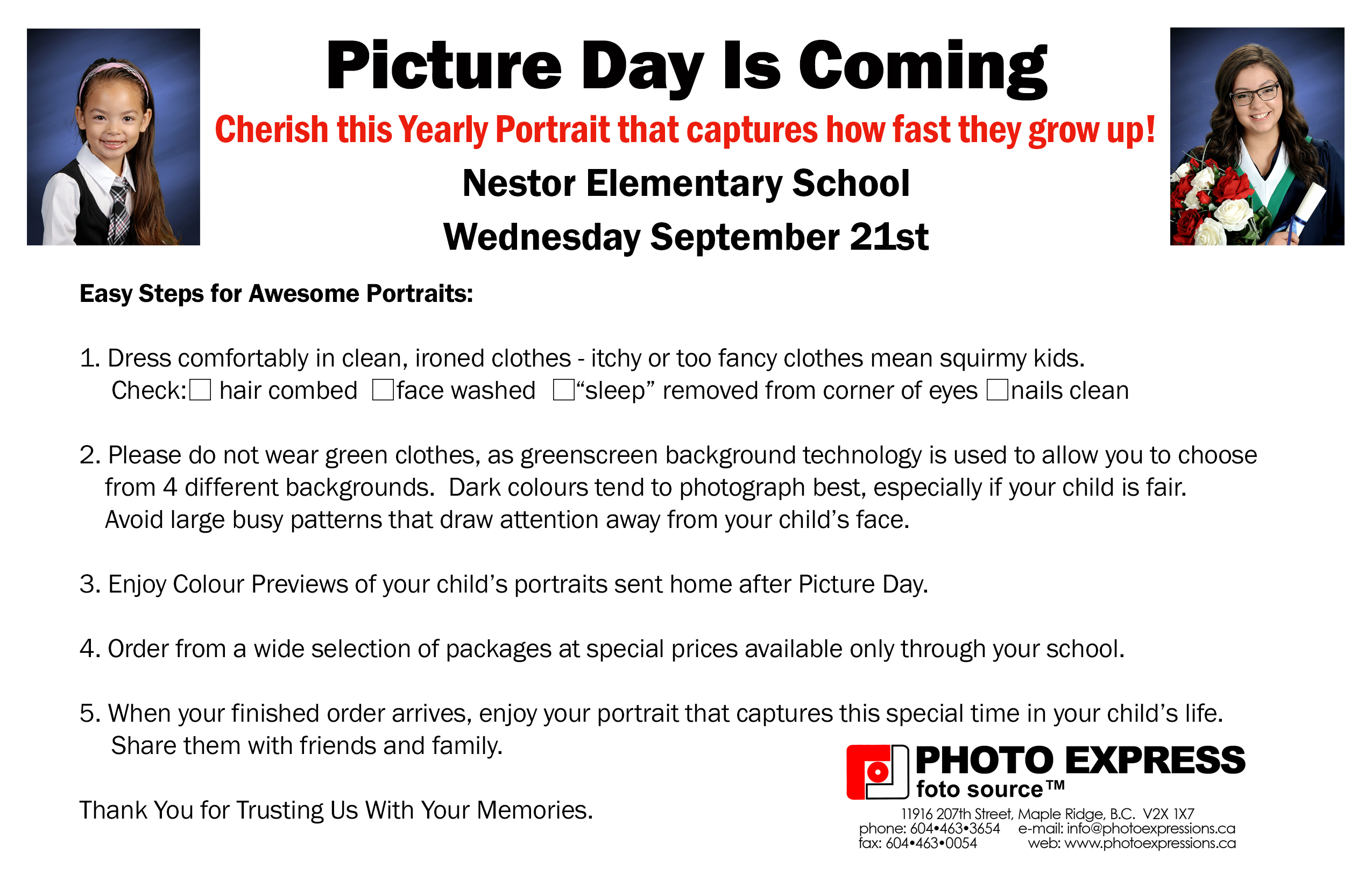 Nestor Elementary Picture Day is Coming 2016