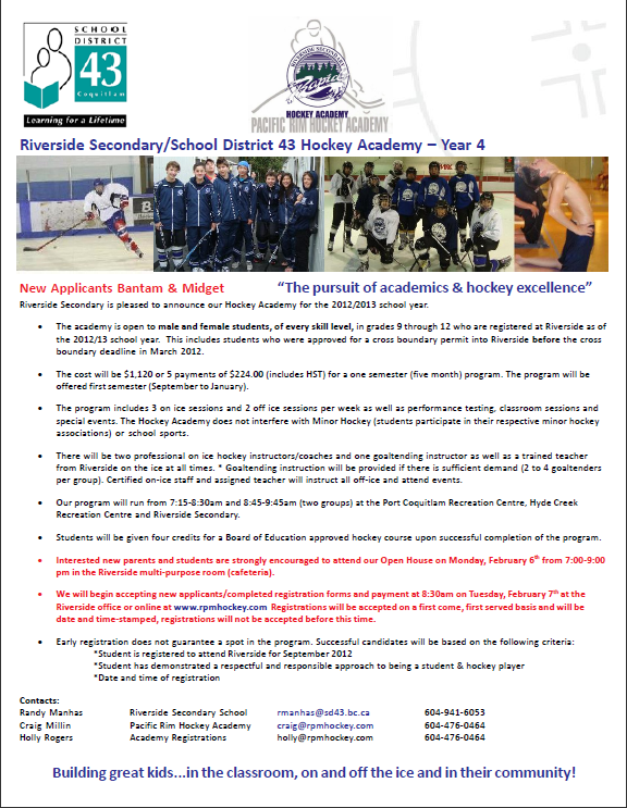 Hockey Academy Info