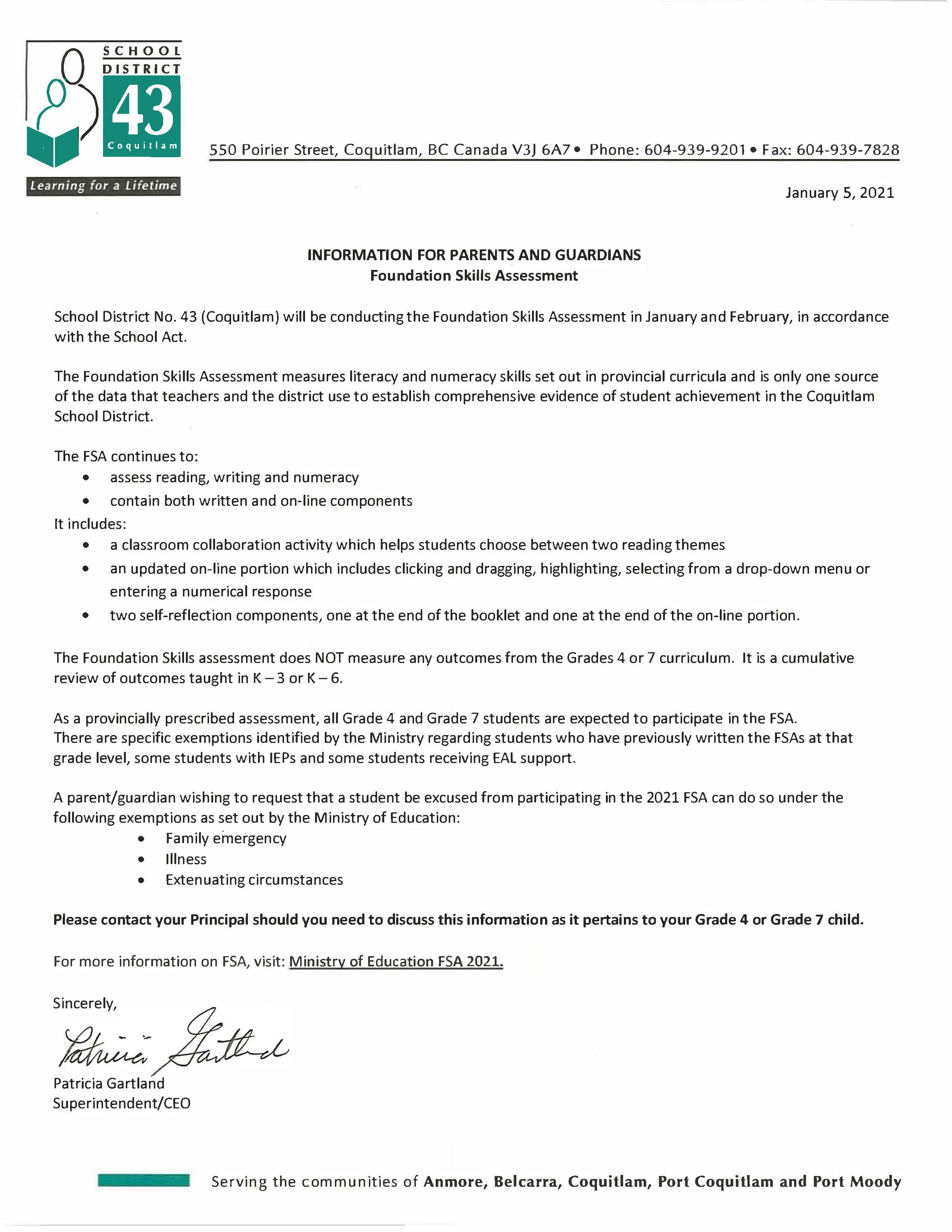 FSA Letter from Superintendent January 2021.jpg